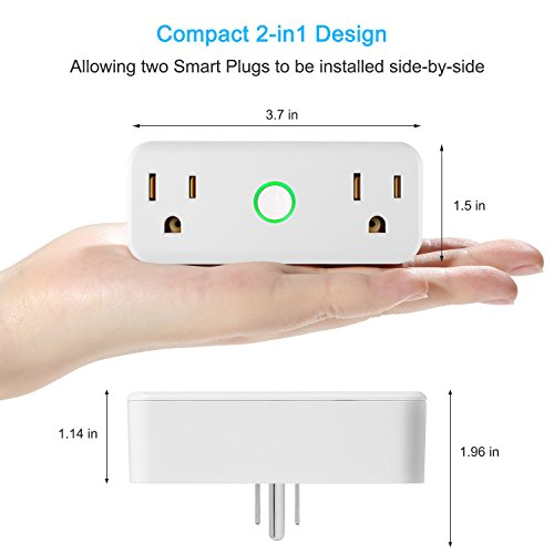 NEXGADGET 10A/1200W Wi-Fi Smart Plug, Dual Outlet Mini Socket with Separated Remote Control,Timing Switch with Energy Monitoring-Works with Alexa and Google Home,No Hub Required-2Pack by NEXGADGET (Image #5)
