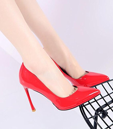Singles Thin Work MDRW Shoes 10Cm Red With The Of The Elegant Tip Heeled Painted Shoes Spring Leisure Women'S 36 Wild Shoes Wedding High Lady Leather Light graqEr