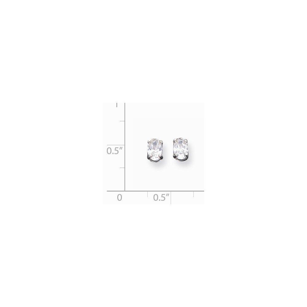 .925 Sterling Silver 4x6MM Oval CZ Basket Set Post Stud Earrings