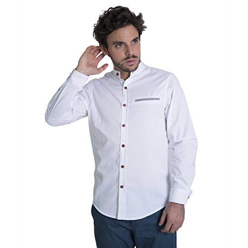 Züell - Men's Slim Fit Long Sleeve Casual Shirt with Fashion Mandarin Banded Collar | Button Up and Formal Dress Shirt (White, XL)