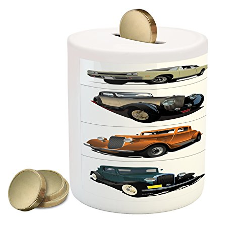 Cheap  Cars Piggy Bank by Ambesonne, Set of Rare Fifties Vintage Cars with..