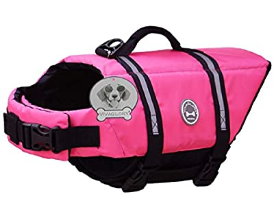 Vivaglory Dog Life Jacket, Dog Life vest, Adjustable Dog Lifejackets, Fashion Dog Saver Life Jacket for Water Safety