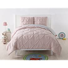 Laura Hart Kids Pleated Reversible Comforter Set, Full/Queen, Blush/Silver Grey Pleated