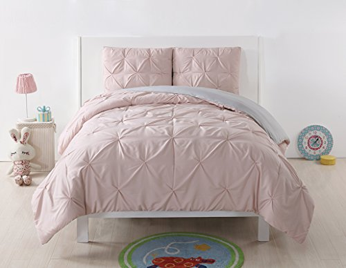 Laura Hart Kids Pleated Reversible XL Comforter Set, Twin X-Large, Blush/Silver Grey Pleated