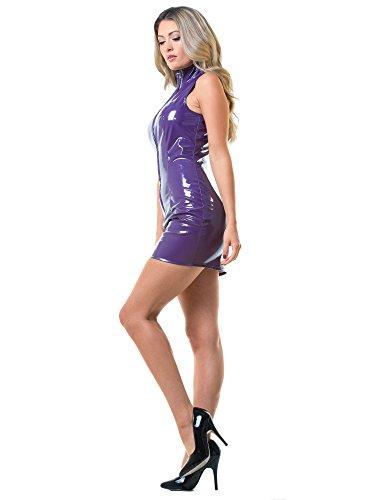 Viola donna con Honour frontale viola alto maniche Abito collo Zip PVC in senza 7Fwzn45Fqr