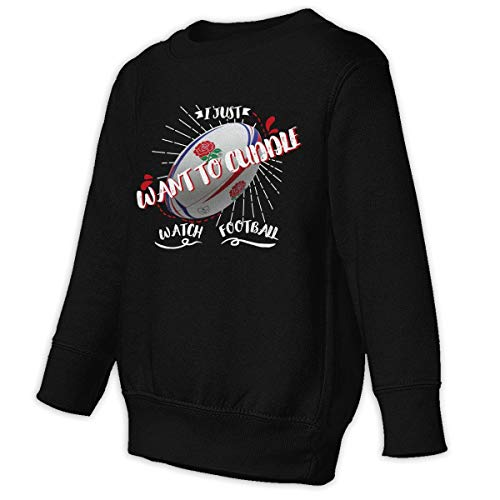 Xgbb I Just Want to Cuddle & Watch Football Toddler Long Sleeve Pullover Sweatshirt Little Boys' Sweatshirt Black -