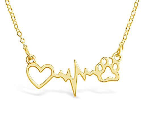 German Shepherd Dog Necklace - Rosa Vila Dog Paw Heartbeat Necklace, Dog Necklace, Veterinarian Gifts for Women, Dog Jewelry, Dog Paw Necklace, Dog Gifts for Women, Dog Lover Necklaces, Vet Tech Gifts (Gold Tone)