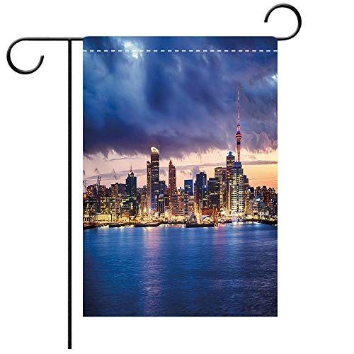 BEICICI Custom Personalized Garden Flag Outdoor Flag City Auckland The Biggest City in New Zealand Waterfront Travel Destination Navy Blue Pale Yellow Best for Party Yard and Home Outdoor -