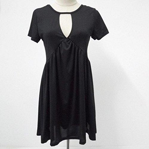 vovotrade Mujeres verano casual Ocio Fiesta coctel corto vestido mini Negro