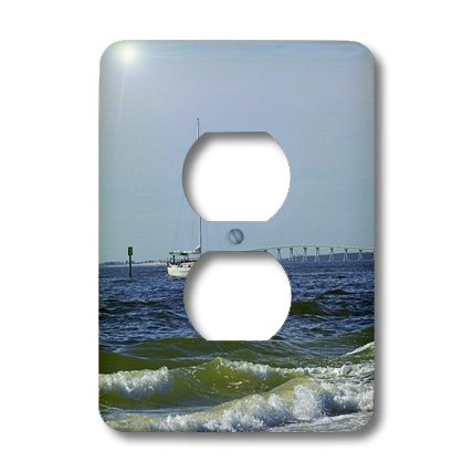 3dRose LLC lsp_39075_6 Sailboat Waves And Sanibel Florida Bridge, 2 Plug Outlet - Sanibel Outlets Florida