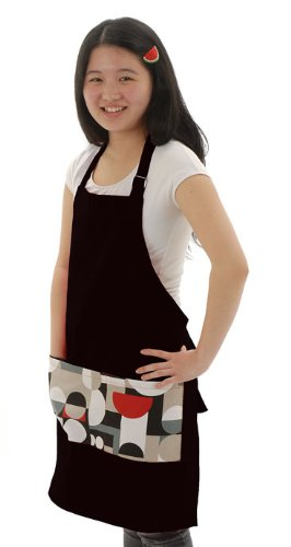 Twinklebelle Adult Cotton Pocket Apron for Cooking, Gardening, Crafting (Funky dots on Black) by Twinklebelle (Image #2)