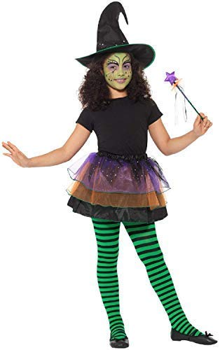Girls Classic Witch Hat Tutu Wand Cute Easy Halloween Fancy Dress Costume Outfit Kit