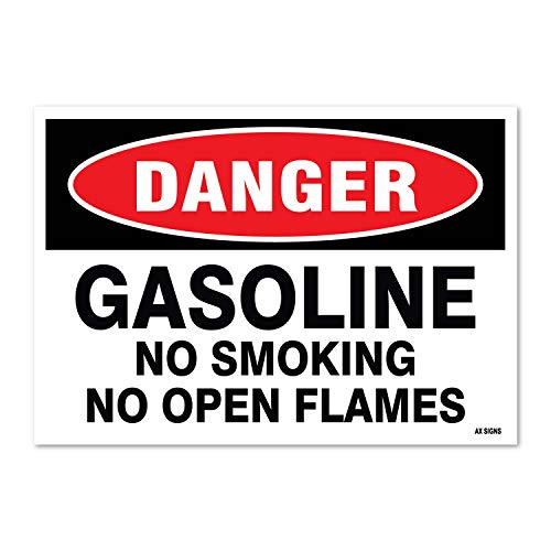 Danger: Gasoline No Smoking No Open Flames, 7 high x 10 wide, Black/Red on White, Self Adhesive Vinyl Sticker, Indoor and Outdoor Use, Rust Free, UV Protected, Waterproof