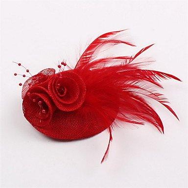 zhENfu Handmade Small Sinamay Feather Pearl Brooch Fascinators Clip Headpiece (more colors),Ruby Headdress