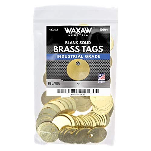 "1"" Solid Brass Stamping Tags (100 Pack) Industrial Grade 0.040"" Blank Chits for Pipe Valves, Keys, Tool and Equipment Labeling 