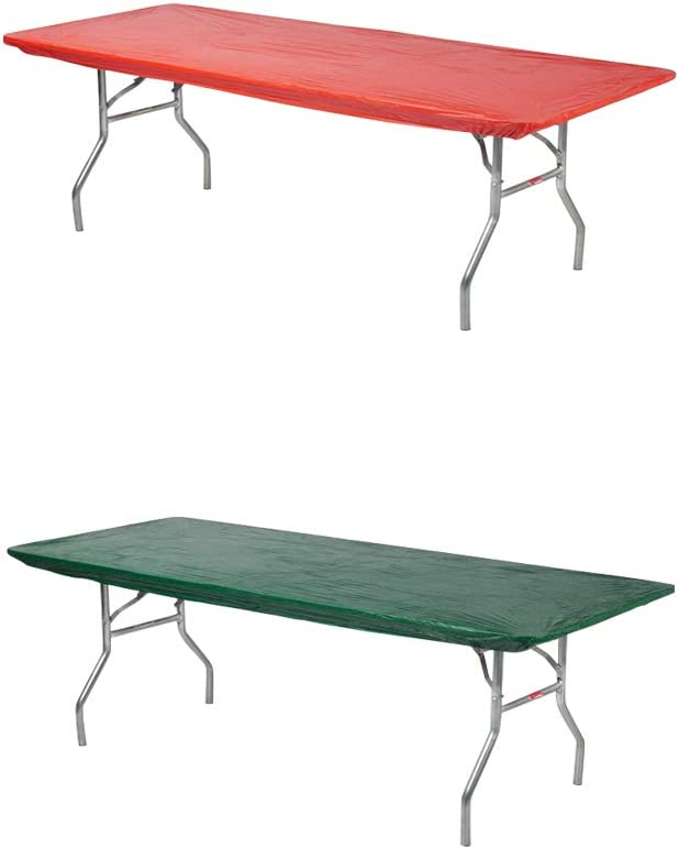 """Kwik-Covers Rectangular Fitted Plastic Table Covers, 6' x 30"""" (6 Feet), Red, Green"""