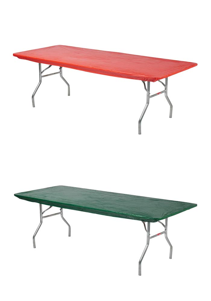 Kwik-Covers Rectangular Fitted Plastic Table Covers, 96'' x 30'' (8 Feet), 2 Red, 2 Green