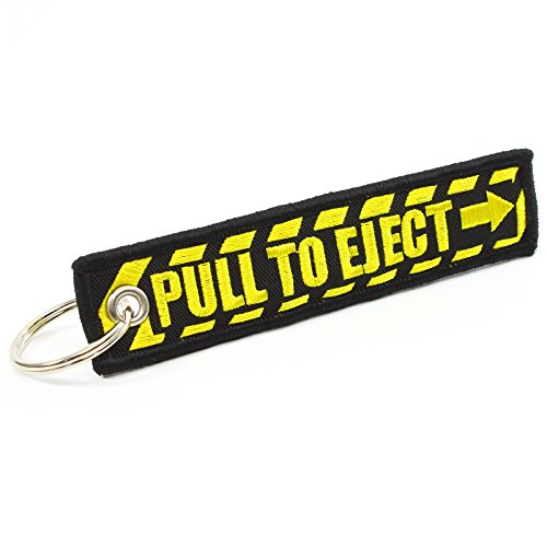 (PULL TO EJECT Key Chain - Black/Yellow by)