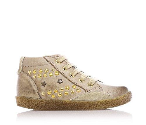 FALCOTTO - Beige Schuhe mit Schnürsenkel, aus Leder, herausnehmbare Innensohle, Mädchen