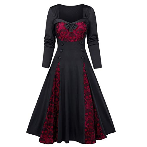 iLOOSKR Plus Size Dress for Women Skull Lace Insert Mock Button Bowknot Novelty Dress A-Line Dress Red