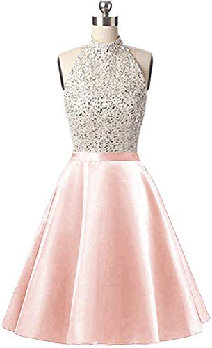 (Lady Dress Women's Beaded Body Halter Homecoming Dress Short Sequined Keyhole Back Cocktail Dress Prom Gowns CLZ44)