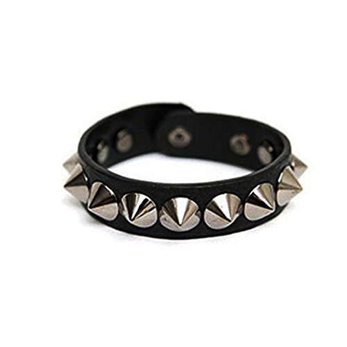 GIANCOMICS Vintage PU Leather Rivet Bracelet Goth Emo Smart Punk Wristband for Girls Women Punk -