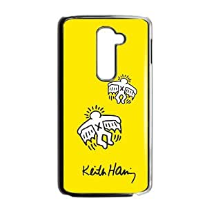 Canting_Good Custom Painted ZQ Keith Haring Yellow Case Cover for LG G2 (Laser Technology)