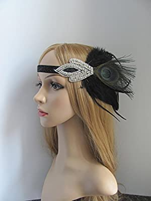 1920s Gatsby Flapper Feather Headband 20s Accessories Roaring 20s Headpiece with Peacock Feather