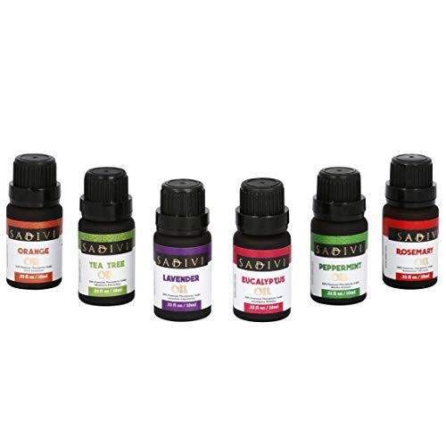 Sadivi Essential Oils Top 6 Therapeutic Grade 100% Pure Essential Oil Set Sampler Gift Set (Tea Tree, Lavender, Eucalyptus, Orange, Rosemary, Peppermint)