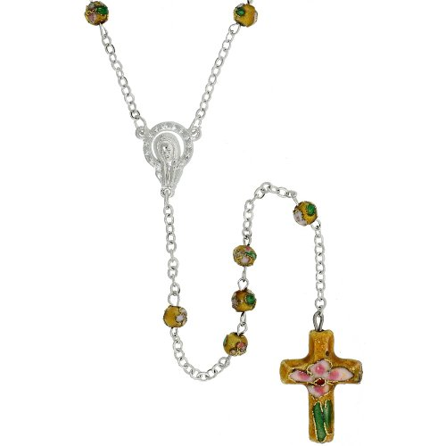 Cloisonne Rosary Necklace Citrine Yellow Color 5 mm Beads, 30 inch