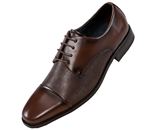 Amali Smooth Cap Toe Oxford with Laser Embossed Vamp Dress Shoe