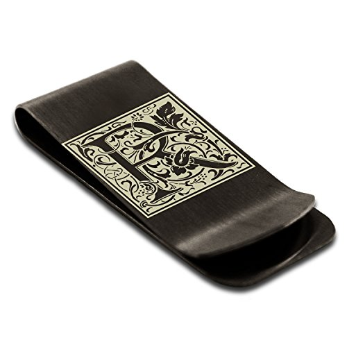 Clip Steel Engraved Money Floral R Monogram Card Black Tioneer Credit Holder Stainless Initial Letter zHxRwWFBq