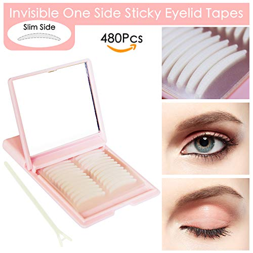 Breathable Eyelid Tapes - 480Pcs/240 Pairs Invisible One Side Sticky Double Eyelid Stickers - Instant Eye Lid Lift Without Surgery, Perfect for Hooded Droopy Uneven or Mono-eyelids (Slim) (Lift Surgery Eyelid)