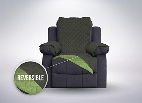 The Original SOFA SHIELD Reversible Furniture Protector, Features Elastic Strap (Recliner: Hunter Green/Sage) (Sage Microfiber Recliner)