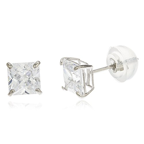 (14k White Gold Square Basket Setting Cz Stud Earrings with Silicone Back (3 M.(GO-532))