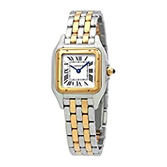 Silver-tone stainless steel case with a two-tone (silver-tone/18kt yellow gold) stainless steel and 18kt yellow gold bracelet. Fixed 18kt yellow gold bezel. Silver dial with blue hands and Roman numeral hour markers. Dial Type: Analog. Quartz...