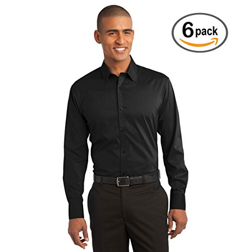 Custom Embroidered Port Authority Lg Black Stretch Poplin Shirt   Pack Of 6