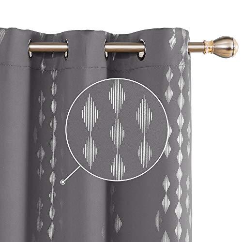 Deconovo Gray Blackout Curtains - Foil Print Rhombus Design Curtain Panels Grommet Window Curtain for Men's Bedroom 42x54 Inch Dark Grey 2 Panels