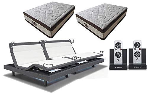 DynastyMattress 15.5-Inch AtlantisBreeze Gel Memory Foam with Reverie 8Q Adjustable Base Set Sleep System (Split King w/Setup)