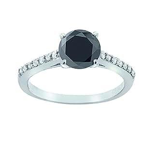 BuyFineDiamonds   oro 375  oro blanco 9 quilates (375) Round Brilliant   negro diamanre negro diamante blanco FINERING