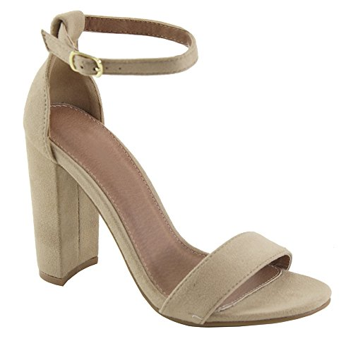 Medium Short Heel Womens (Women's Heeled Sandals Ankle Strap Chunky Block Low Heel Strappy Stacked Fashion Casual Dress Shoes SL01 Taupe 6)