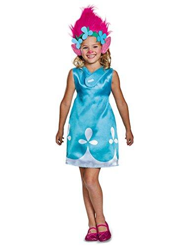 Poppy Classic W/Headband Trolls Costume, Blue, Small -
