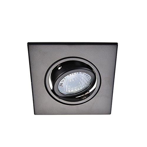 Eco Lighting NY HLV3006BK 3-Inch for both Line/Low Voltage Trim Recessed Light, Adjustable Square Gimbal Ring, All Black - Low Voltage Gimbal Ring