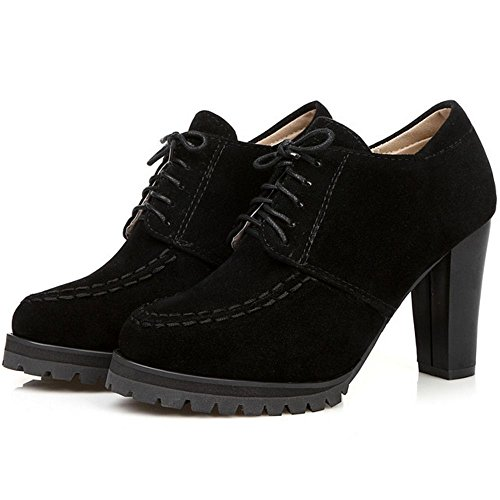 COOLCEPT Women Casual Lace up Bootie High Heel Pumps Black Wicvk
