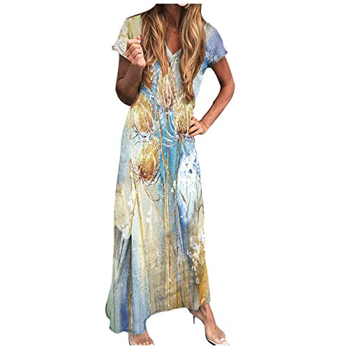 Printed Dresses, Ladies Fashion Sexy Summer Short Sleeve v-Neck Multicolor Long Dress for Women(Gold_25,M)