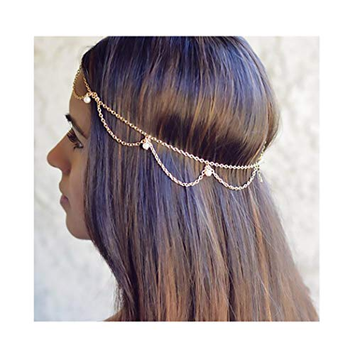 Campsis Gold Festival Head Chain Pearl Gyspy Headpiece Jewelry Layered Hair Accessories for Women and Girls