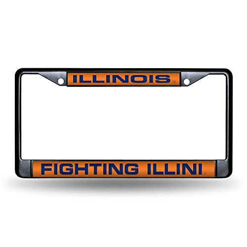 Rico Industries NCAA Illinois Illini Laser Cut Inlaid Standard Chrome License Plate Frame, 6