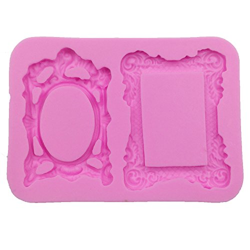 Funshowcase Sugarcraft 2 Mirror or Photo Frames or Picture Frame Candy Silicone Mold