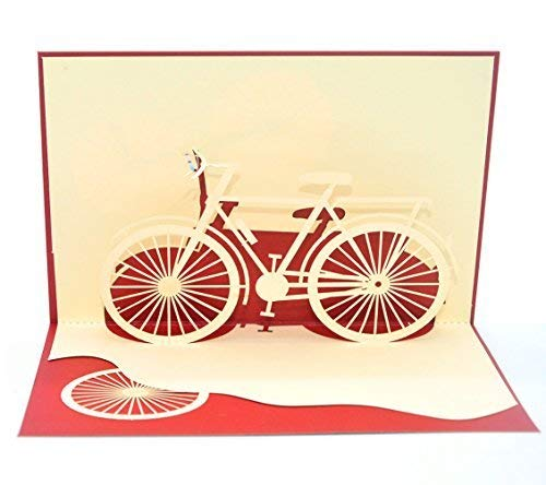 Medigy 3D Pop Up Greeting Cards Bicycle Blank Cards for Most Occastions (Red) ()