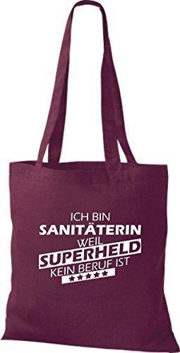 shirtstown Borsa di stoffa SONO sanitäterin, WEIL supereroe NESSUN lavoro è Bordeaux